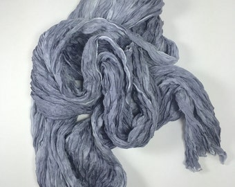 Hand Dyed Silk Scarf / Charcoal Silk Scarf / OOAK Silk Scarf / from Textured Silks Collection - Clouds