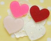 8 pcs Big Acrylic Glitter Heart Plate / Cabochon (40mm45mm) Red set  IK146