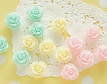 12 pcs  Pastel Rose Cabochon (14mm) FL429