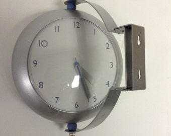 Michael Graves 2 sided train station style Industrial  Wall Clock