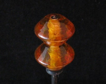 Pair of amber bicone lampwork beads with or without fine silver droplets