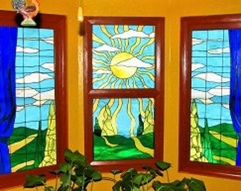"""Stained Glass Panels - """"Sunset Rays"""" (P-50)"""