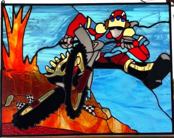 """Stained Glass Hanging Panel - """"Dirt Bike Race"""" (P-63)"""