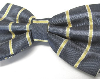 Mens Bowtie. Gray Yellow Plaid Bowtie With Matching Pocket Square Option