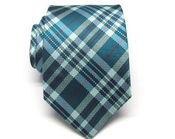 Mens Tie - Teal Green Red Plaid Silk Neckties