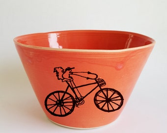 Ceramic Bowl, Made to Order, Cereal Bowl, Soup Bowl, Squirrel Bowl, Squirrel Riding a Bike, Handmade Bowl, Porcelain Bowl, Coral Red Bowl