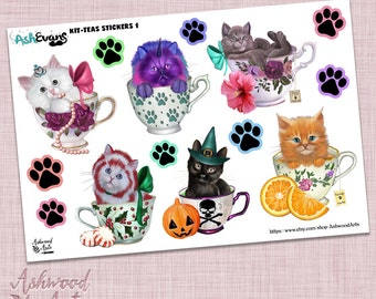 Ash Evans Kit-Teas Cat Planner Stickers ( Kitten Cat Tea Teacup )