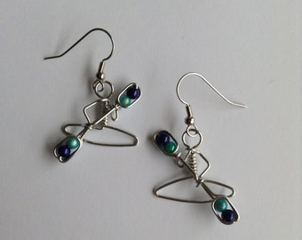Kayak Earrings with Turquoise and Royal Blue Miracle Beads