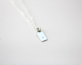 INITIAL TAB NECKLACE - Tiny Sterling Initial Personalized Monogram Tag Necklace