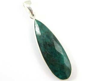 Bezel Pendant with Bail-Dyed Emerald-Sterling Silver Bezel Pendant Charms-Ready for Necklace, Elongated Teardrop Shape-40mm-601113-EMR