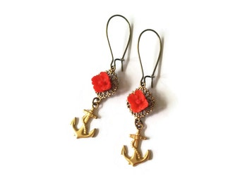 Red Rose and Golden Anchor Earrings - Vintage Inspired Jewelry - Scarlett Red - Vintage Cabochons - Red Earrings - Red Anchor II (SD0963)