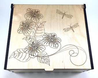 Flower Essential Oil Storage Box, 42 Slots, Flowers and Dragonflies, Aromatherapy Box, Wood Essential Oil Case, Aromatherapy Oil Organizer