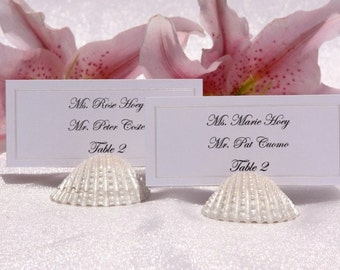 Beach Wedding + Place Card Holder + Pearlized Seashell Place card holders- Set of 100
