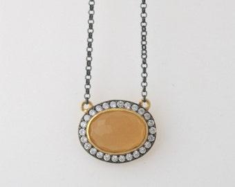 Amber Chalcedony Bezel Necklace