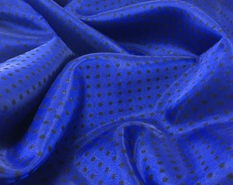 Royal Blue & Black Flocked Velvet Polka Dots Organza Fabric - 1 Yard