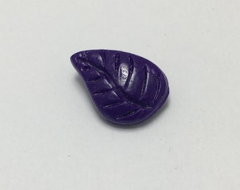Small Leaf - Eggplant Purple - Hand Made Clay Button