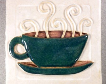 Cuppa Joe Tile, Ceramic Stoneware 4 inch Art Tile ~ White and Teal Green