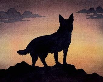 """Australian Cattle Dog Art Print """"Australian Cattle Dog Sunset"""" Signed by Artist DJ Rogers"""