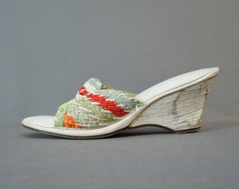 Vintage 1960s Straw Mules Wedge Heel Shoes Size 6-1/2, White, Green, Blue & Red with Carved Wedge Heel