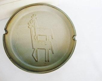 vintage MCM pottery giraffe ashtray large dish uctci midcentury