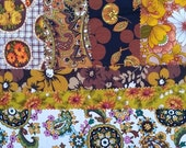 NOW ON SALE vintage fabric samples - 1970 fabric sample collection - mustard & brown set - 7 pieces