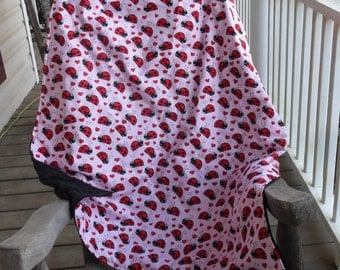 Large Ladybugs Hearts and Black Minky Dot Blanket MINKY CHOICE