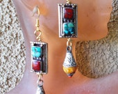 OOAK Artisan Earrings, Old Tibetan Earrings, Turquoise, Coral and Amber Earrings, Silk Road Earrings, Ancient Tribes Earrings