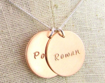 Rose Gold Name Necklace, 14K Rose Gold Filled Charms, Personalized Pendants, Sterling Silver Chain