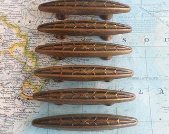 SALE! 6 mid century ornate metal handles