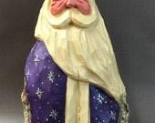 HAND CARVED original nice purple Santa from 100 year old Cottonwood Bark.