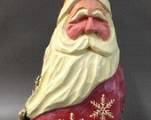 """HAND CARVED original red """"snowflake"""" Santa from 100 year old Cottonwood Bark."""