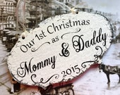 Our 1st Christmas as MOMMY & DADDY, Our 1st Christmas Ornaments, Wood Christmas Ornaments