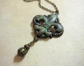 Fleur de Lis Necklace, Verdigris Patina, Fleur de Lis Pendant, Noir Jewelry, Filigree, Gothic Necklace, Renaissance Jewelry, Gifts for Her