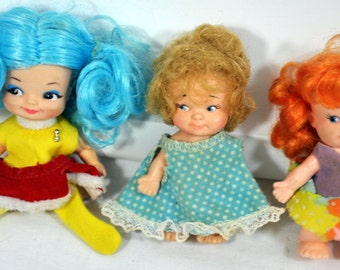 Lot of 3  1960s Tiny Dolls - Pee Wee - Remco