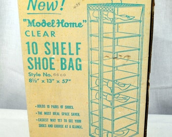 New  Shoe & Accessory Hanging Bag Lavender With 10 Shelves to organize your shoes-purses-scarves