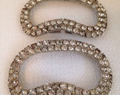 Vintage Sparking Rhinestone and Silver Shoe Clips