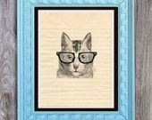 SALE Nerd Glasses Cat Print Includes 5 backgrounds Instant Digital Download DIY Print yourself