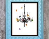 SALE Butterfly Chandelier Print Includes 5 backgrounds Instant Digital Download DIY Print yourself