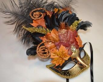 Autumnal Face Venetian Ribbon Tied Mask
