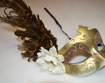 CHocolate Brown and Ivory Glitter Venetian Mask