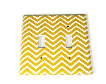 Double Switch Plate Light Switch Cover Wall Decor Light Switchplate  in Yellow Chevron (242D)