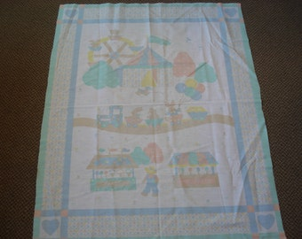 Country Fair Crib Fabric Panel - Circus Tent - Ferris Wheel - Train - Candy & Ice Cream Stands - Pastel Colors