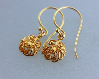 Gold Flower earrings, gold dangle earrings, Filigree Floral earrings, drop earrings, girlfriend gift