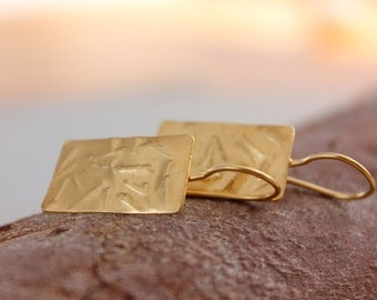 Gold rectangle earrings, Gold textured earrings, Gold dangle earrings, 24K gold drop earrings, Handmade gold earrings