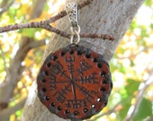 pendant of the double whammy stave charm  - Vegvisir and  Ægishjálmur