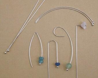 """Handmade Earwires - Argentium 3"""" Stick Ear wires - Ball Earring Hooks - DIY Jewelry Earrings - Fancy Ear Hooks"""
