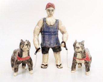 Bro at the dog park with his unneutered pit bulls ceramic minature figures set