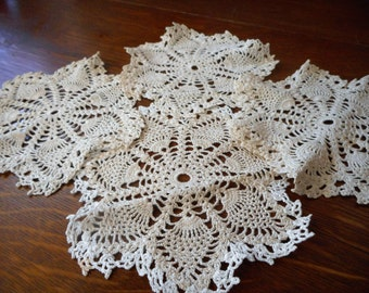 Set of 4 VINTAGE Small Crochet Pineapple Tan Needlework Lace Doilies  D27
