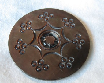 Large ANTIQUE Carved Iridescent Smokey Shell Sew Thru BUTTON