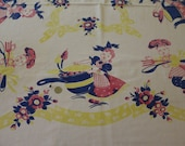Darling Novelty Girl Boy Bakers Chefs Pink Blue Yellow Vintage 1940s Cotton Tablecloth